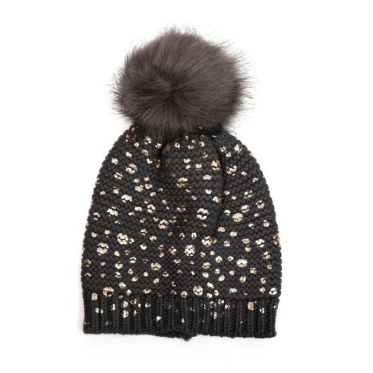 Dark  Grey And Gold Fur Pom Pom Hat