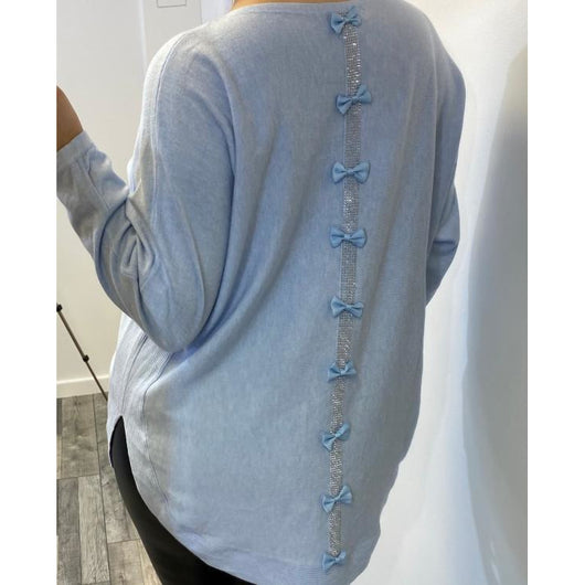 Light Blue Knitted Jumper With Back Bow Detail