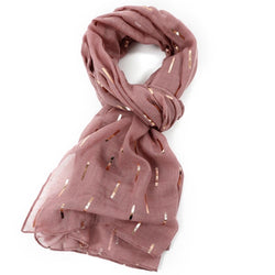 Blush Pink Scarf With Rose Gold Bar Pattern