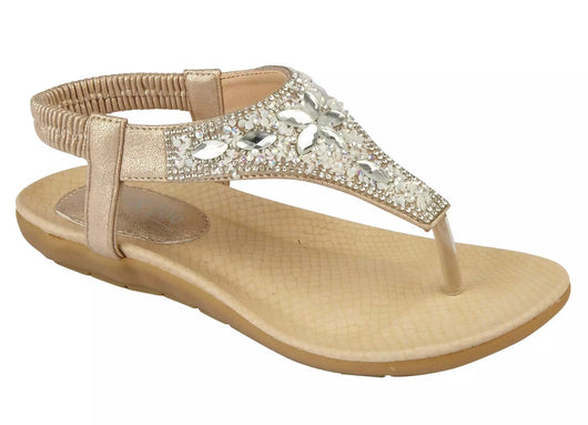 Gold Toe Post Sandals with Jewel Detail