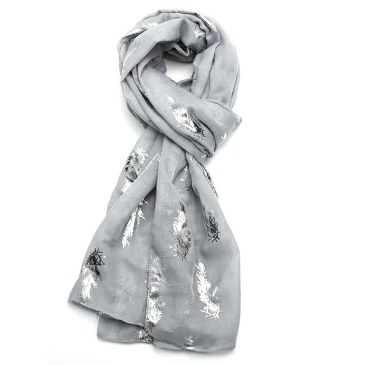 Grey Scarf With Sliver Foil Sprigs