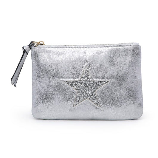 Large Silver Metallic Purse With Silver Star