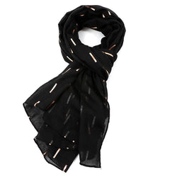 Black Scarf With Rose Gold Bar Pattern
