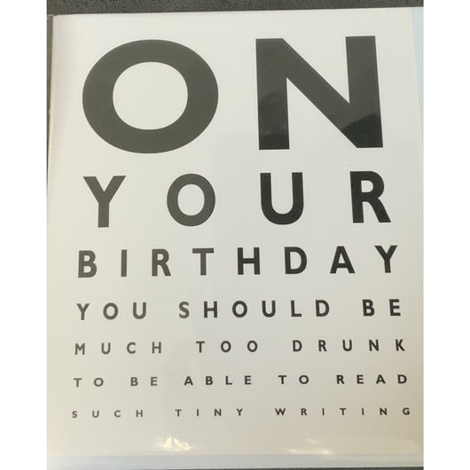 On your birthday card eye test