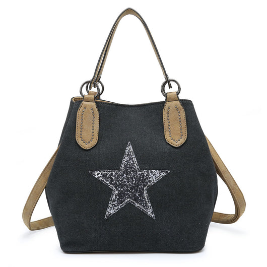 Dark grey canvas Star Tote Handbag