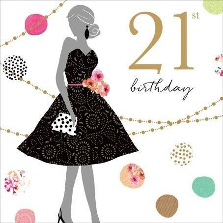 Jaz and baz little black dress 21st  birthday card