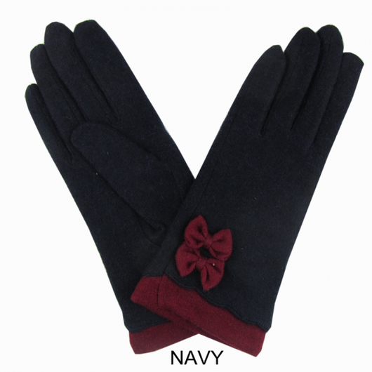 Navy With Wine Bow Detail Gloves