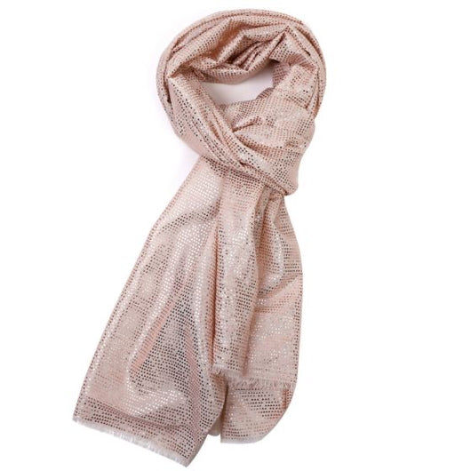 Beige scarf With Tiny Rose Gold Triangles