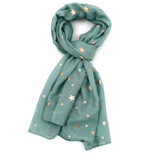 Green gold star scarf
