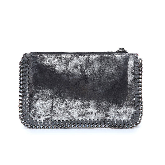 Grey metallic clutch bag with chain detail