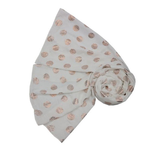 SIilver Grey  Scarf With Rose Gold Dots