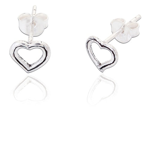 Small Open Heart Studs Silver 925