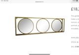 Gold Triple Framed Mirror