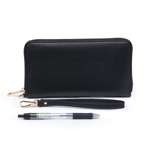 Black purse with wrist strap
