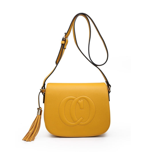 Cross body shoulder bag with double C design