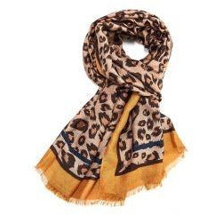 Leopard print Scarf With Mustard Border