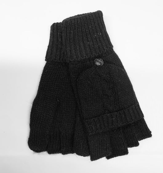Black Knitted Shooter Mitt Gloves