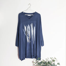 Navy oversized jumper with foil abstract detail