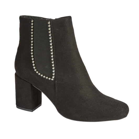 Black Boot With Silver Bead Detail