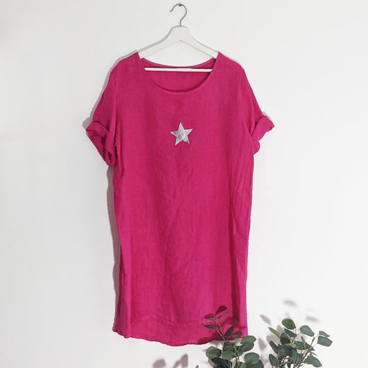 Fuchsia Classic Linen Dress With Star Detail