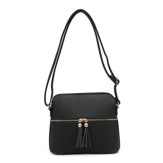 Black Cross Body Handbag With Tassel Detail