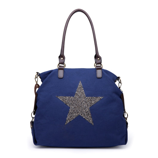 Navy Large Canvas Bag With Sequin Star
