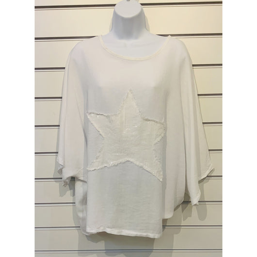 White Sequin Star Top