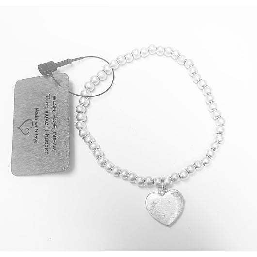 Silver Bead Bracelet With Heart Charm