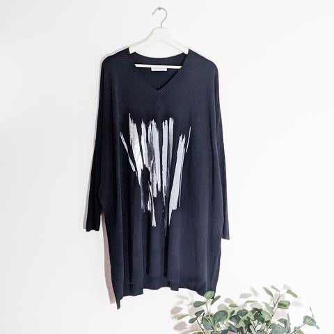 Dark Grey Oversized Knitted Jumper With Foil metallic Strokes