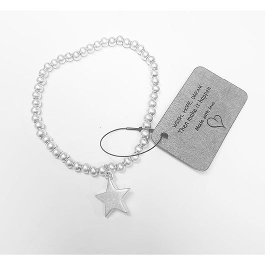 Silver Bead Bracelet With Star Charm