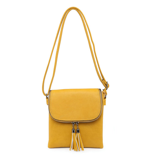 Mustard cross body bag with tassels detail