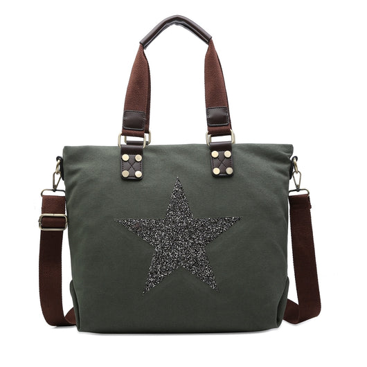 Khaki Canvas Star Tote Handbag