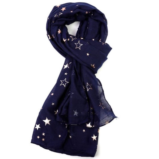 Navy Scarf With Rose Gold Stars