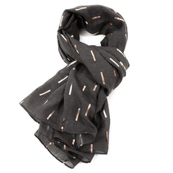 Dark Grey Scarf With Rose Gold Bar Pattern