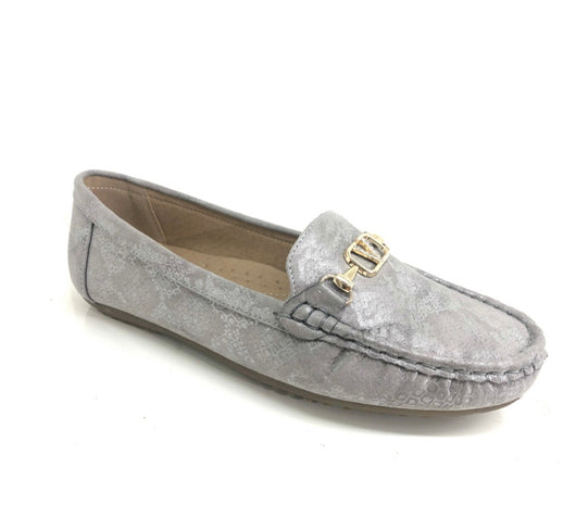 Silver Grey Loafers With Gold Buckle Detail