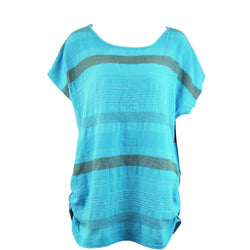 Turquoise Horizontal Stripe Linen Top