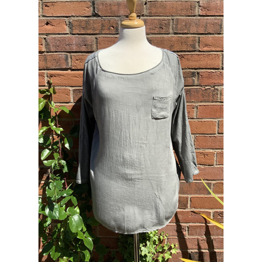 Dark Grey Top With Silver Stripe Detail