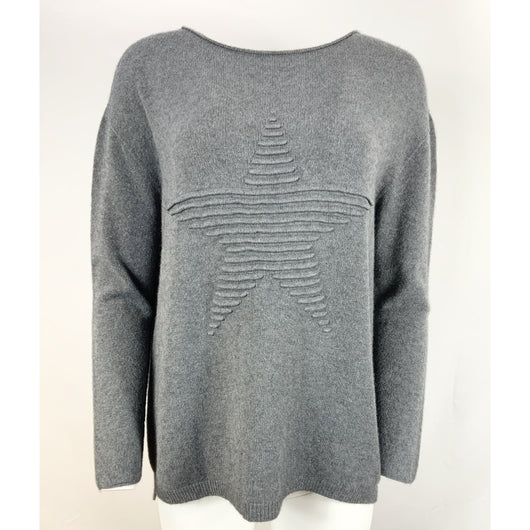Dark Grey Star Jumper  From The Made In Italy Collection