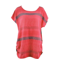 Coral Horizontal Stripe Linen Top