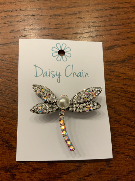Crystal And Pearl Dragon Fly Brooch
