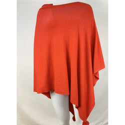 Red Diamante Poncho With Pom Pom Detail