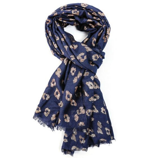 Navy Scarf With Rose Gold Leopard Pint Detail