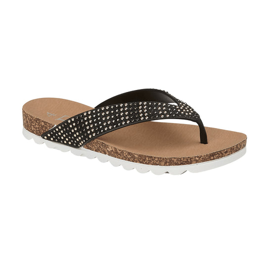 Black Toe Post Sandal With Gold Stud Detail