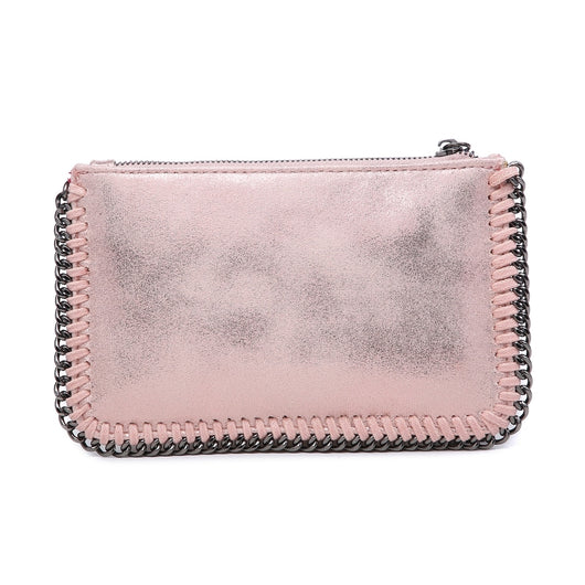 Pink clutch bag with chain detail