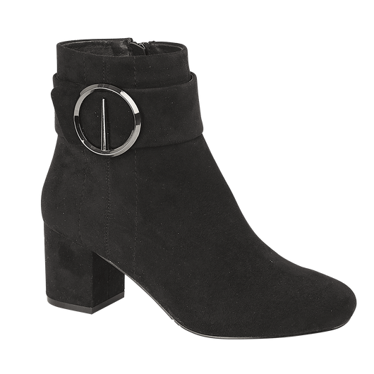 Black Boot With silver Buckle Detail