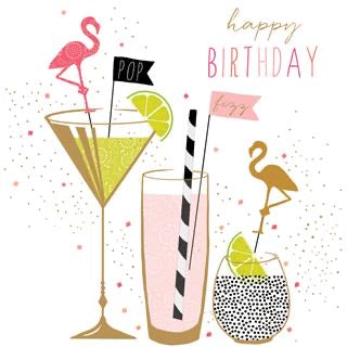 Flamingo Cocktails Birthday Card