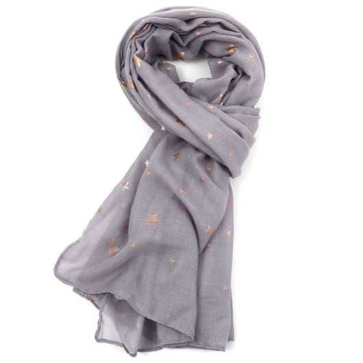 Grey gold star scarf