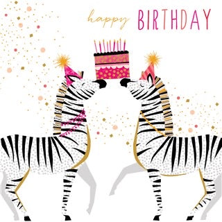 Zebras Birthday Card