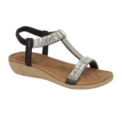 Black Zante Sandals With Jewel Detail