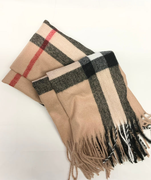 Camel check scarf with tassel detail
